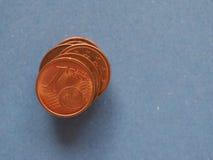 1 pièce de monnaie de cent, Union européenne, avec l'espace de copie Images libres de droits