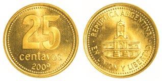 pièce de monnaie de 25 centavos de l'Argentine Photos stock