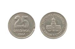 Pièce de monnaie de centavos de peso de l'Argentin 25 Photographie stock