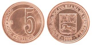 Pièce de monnaie de centimos du Venezuela Image stock