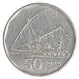 Pièce de monnaie de 50 cents de Fijian Image libre de droits