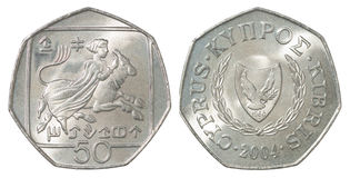 Pièce de monnaie de cents de la Chypre Images libres de droits