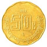 pièce de monnaie de 50 cents de peso mexicain Photo stock