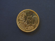 pièce de monnaie de 50 cents, Union européenne Photo libre de droits