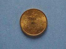 pièce de monnaie de 50 cents, Union européenne, Italie Photos stock