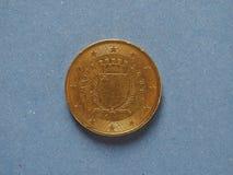 pièce de monnaie de 50 cents, Union européenne, Malte Photographie stock libre de droits
