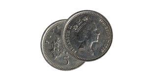Pièce de monnaie de cinq penny Photographie stock libre de droits