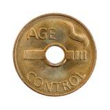 Pièce de monnaie de contrôle d'âge Images stock
