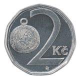 Pièce de monnaie de couronne de deux Tchèques Images stock
