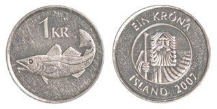 1 pièce de monnaie de couronne islandaise Image libre de droits