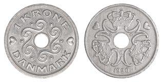 1 pièce de monnaie de couronnes danoises images libres de droits
