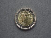 Pièce de monnaie de Dante Alighieri Euro d'Italie Photo stock