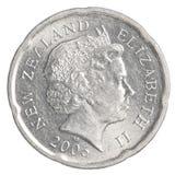 Pièce de monnaie de 20 de Nouvelle-Zélande cents du dollar Images libres de droits