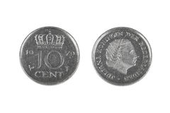 Pièce de monnaie de Dix cents des Pays-Bas Images libres de droits