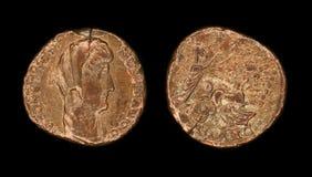 Pièce de monnaie de Follis de l'empire romain Images libres de droits