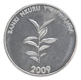Pièce de monnaie de franc de Rwanda Image libre de droits