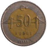 Pièce de monnaie de kurus de 50 turc, 2009, arrière Image libre de droits