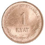 1 pièce de monnaie de kyat de myanmar de Birman Image stock