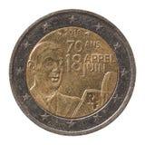 Pièce de monnaie de l'euro 2 des Frances Photos libres de droits