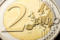Pièce de monnaie de l'euro deux Photographie stock libre de droits