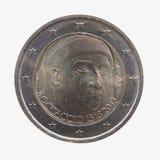 Pièce de monnaie de l'euro deux soutenant le portrait de Giovanni Boccaccio Image stock