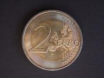 pièce de monnaie de l'euro 2, Union européenne Photo libre de droits