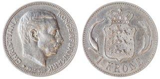 1 pièce de monnaie de la couronne 1915 d'isolement sur le fond blanc, Danemark Image stock