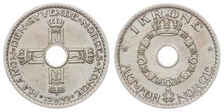 1 pièce de monnaie de la couronne 1949 d'isolement sur le fond blanc, Norvège Image stock