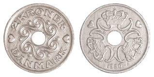 pièce de monnaie de la couronne 2 danoise image stock