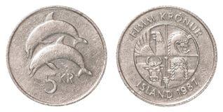 pièce de monnaie de la couronne 5 islandaise Image libre de droits