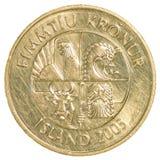 pièce de monnaie de la couronne 50 islandaise Photo libre de droits