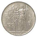 pièce de monnaie de la Lire 100 italienne Images libres de droits