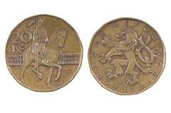Pièce de monnaie de la République Tchèque 20 CZK Image stock
