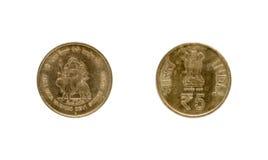 Pièce de monnaie de la roupie cinq indienne Images libres de droits
