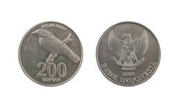 Pièce de monnaie de la roupie 200 indonésienne photographie stock libre de droits