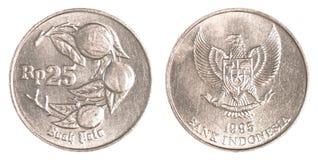 Pièce de monnaie de la roupie 25 indonésienne Photos stock