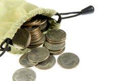 Pièce de monnaie de la Thaïlande dans le sac de tissu Photographie stock