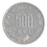 Pièce de monnaie de Lei de 500 Roumains photographie stock libre de droits