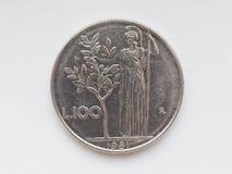 Pièce de monnaie de Lire italienne Images libres de droits