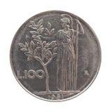 Pièce de monnaie de Lire italienne d'isolement au-dessus du blanc Photographie stock libre de droits
