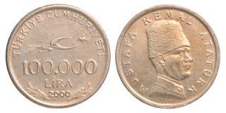 Pièce de monnaie de Lire turque Photo stock