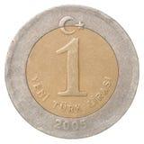 Pièce de monnaie de Lire turque Photos stock