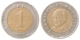 Pièce de monnaie de Lire turque Photographie stock libre de droits