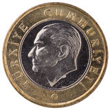 1 pièce de monnaie de Lire turque, 2011, visage Photographie stock