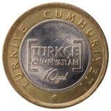 1 pièce de monnaie de Lire turque, 2012, visage Image libre de droits