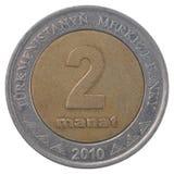Pièce de monnaie de manat de Turkmenistani Photos stock