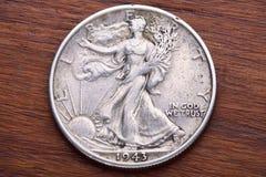 Pièce de monnaie de marche de demi-dollar de liberté Image stock