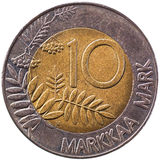 Pièce de monnaie de marks finlandais Images stock