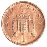 1 pièce de monnaie de penny des anglais Images libres de droits