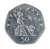 Pièce de monnaie de penny des Anglais cinquante d'isolement sur le blanc Photographie stock